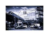 Urban Scene, Coney Island Av and Subway Station, Brooklyn, Ny, US, White Frame Photographic Print by Philippe Hugonnard