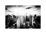 Skyline Manhattan at Sunset, Times Square and 42 Street, Midtown Manhattan, New York, White Frame Photographic Print by Philippe Hugonnard