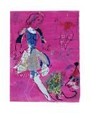 Tänzerin vor malvenfarbigem Hintergrund Posters by Marc Chagall