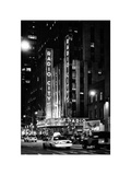 Radio City Music Hall and Yellow Cab by Night, Manhattan, Times Square, NYC, White Frame Photographic Print by Philippe Hugonnard