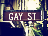 Urban Sign, Gay Street, Greenwich Village District, Manhattan, New York, Vintage Colors Photography Photographic Print by Philippe Hugonnard