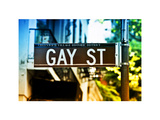 Urban Sign, Gay Street, Greenwich Village District, Manhattan, New York, White Frame Photographic Print by Philippe Hugonnard