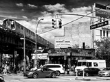 Urban Scene, Coney Island Av and Subway Station, Brooklyn, Ny, US, USA, Black and White Photography Photographic Print by Philippe Hugonnard
