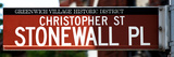 Urban Sign, Christopher Street and Stonewall Place, Greenwich Village, Manhattan, New York Photographic Print by Philippe Hugonnard