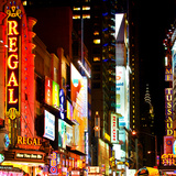 Urban Scene by Night at Times Square, Buildings by Night, Manhattan, New York Photographic Print by Philippe Hugonnard