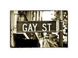 Urban Sign, Gay Street, Greenwich Village District, Manhattan, New York, White Frame Vintage Photographic Print by Philippe Hugonnard