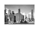 Skyline of Manhattan, White Frame, Financial District with 1WTC and Pier 17, New York Photographic Print by Philippe Hugonnard