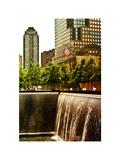 The Memorial Pool View at 9/11 Memorial, 1WTC, Manhattan, New York, White Frame, Sunset Colors Photographie par Philippe Hugonnard