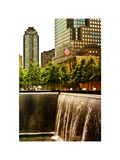 The Memorial Pool View at 9/11 Memorial, 1WTC, Manhattan, New York, White Frame, Sunset Colors Photographic Print by Philippe Hugonnard