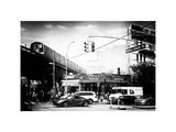 Urban Scene, Coney Island Av and Subway Station, Brooklyn, Ny, US, White Frame, Old Photographic Print by Philippe Hugonnard