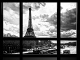 Window View, Special Series, Eiffel Tower and the Seine River, Paris, Black and White Photography Fotografisk tryk af Philippe Hugonnard