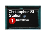 Subway Station Sign, Christopher Street Station, Downtown, Manhattan, NYC, White Frame Photographic Print by Philippe Hugonnard