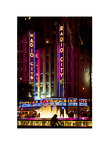Fountain in Front of Radio City Music Hall by Night, Manhattan, Times Square, New York City Photographic Print by Philippe Hugonnard