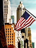 Architecture and Buildings, Skyscrapers View, American Flag, Midtown Manhattan, NYC, US, USA Fotografie-Druck von Philippe Hugonnard