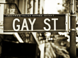Urban Sign, Gay Street, Greenwich Village District, Manhattan, New York, Sepia Light Photography Photographic Print by Philippe Hugonnard