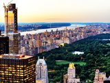 Landscape, Central Park with Skyscrapers and Upper West Side Manhattan View at Sunset, New York Photographic Print by Philippe Hugonnard