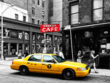 Urban Scene, Yellow Taxi, Prince Street, Lower Manhattan, NYC, Black and White Photography Colors Fotografisk tryk af Philippe Hugonnard