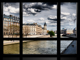 Window View, Walk a Couple of Lovers on the Seine, Ile Saint Louis, Seine River, Paris Photographic Print by Philippe Hugonnard