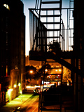 Stairway by Night and Shadow, Fire Escapes, Street Manhattan, New York, United States Photographic Print by Philippe Hugonnard