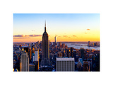 Sunset Skyscraper Landscape, Empire State Building and One World Trade Center, Manhattan, New York Photographic Print by Philippe Hugonnard