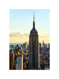 Empire State Building from Rockefeller Center at Dusk, Manhattan, NYC, White Frame Photographic Print by Philippe Hugonnard