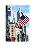 Architecture and Buildings, Skyscrapers View, American Flag, Midtown Manhattan, NYC, White Frame Photographic Print by Philippe Hugonnard