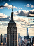 Cityscape Skyscraper, Empire State Building and One World Trade Center, Manhattan, NYC, Vintage Fotografiskt tryck av Philippe Hugonnard