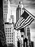 Architecture and Buildings, Skyscrapers View, American Flag, Midtown Manhattan, NYC, USA Photographic Print by Philippe Hugonnard