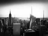 Skyline at Sunset, Empire State Building, Manhattan, United States, Old Black and White Photographic Print by Philippe Hugonnard
