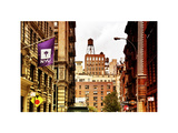 Architecture and Buildings, Greenwich Village, Nyu Flag, Manhattan, NYC, White Frame, Art Colors Photographic Print by Philippe Hugonnard