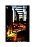 Stairway by Night and Shadows, Fire Escapes, White Frame, Street Manhattan, New York Photographic Print by Philippe Hugonnard