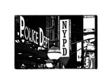 Nypd Police Dept, Times Square, Manhattan, NYCa with White Frame, Full Size Photography Vintage Stampa fotografica di Philippe Hugonnard