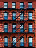 Building Facade in Red Brick, Stairway on Philadelphia Building, Pennsylvania, United States Photographic Print by Philippe Hugonnard
