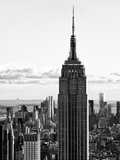 Empire State Building from Rockefeller Center at Dusk, Manhattan, NYC, Black and White Photography Photographic Print by Philippe Hugonnard
