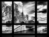 Window View, Special Series, Notre Dame Cathedral, Seine River, Paris, Black and White Photography Photographic Print by Philippe Hugonnard