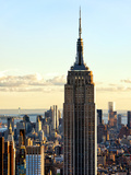 Empire State Building from Rockefeller Center at Dusk, Manhattan, New York City, United States Photographic Print by Philippe Hugonnard