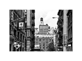 Architecture and Buildings, Greenwich Village, Nyu Flag, Manhattan, NYC, White Frame Photographic Print by Philippe Hugonnard