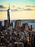 Landscape Sunset View, One World Trade Center, Manhattan, New York, United States, Color Sunset Photographic Print by Philippe Hugonnard