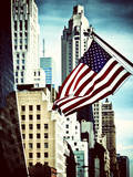 Architecture and Buildings, Skyscrapers View, American Flag, Midtown Manhattan, NYC, Vintage Colors Photographic Print by Philippe Hugonnard
