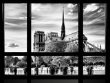 Window View, Special Series, Notre Dame Cathedral View, Paris, Europe, Black and White Photography Photographic Print by Philippe Hugonnard