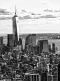Landscape Sunset View, One World Trade Center, Manhattan, New York, US, Black and White Photography Fotografie-Druck von Philippe Hugonnard
