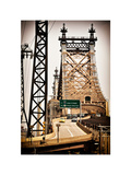 "Road Traffic Exit on ""59th Street Bridge"" (Queensboro Bridge), Manhattan Downtown, NYC, Vintage Photographic Print by Philippe Hugonnard"