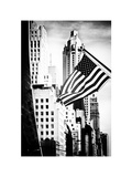 Skyscrapers View, American Flag, Midtown Manhattan, NYC, White Frame, Old Photographic Print by Philippe Hugonnard