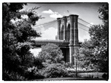 Brooklyn Bridge View of Brooklyn Park, B/W Vintique, Manhattan, New York, United States Photographic Print by Philippe Hugonnard