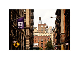 Architecture and Buildings, Greenwich Village, Nyu Flag, Manhattan, NYC, White Frame, Vintage Photographic Print by Philippe Hugonnard