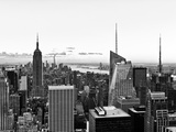 Skyline at Sunset, Empire State Building, Manhattan, United States, Black and White Photography Photographic Print by Philippe Hugonnard