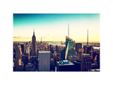 Skyline at Sunset, Empire State Building, Manhattan, US, White Frame, Vintage Photographic Print by Philippe Hugonnard