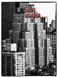 The New Yorker Hotel, Black and White Photography, Red Signs, Midtown Manhattan, New York City, US Photographic Print by Philippe Hugonnard