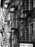Stairways, Fire Escapes, Black and White Photography, Street Times Square, Manhattan, New York, US Photographic Print by Philippe Hugonnard