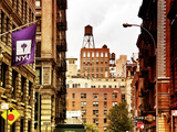 Architecture and Buildings, Greenwich Village, Nyu Flag, Manhattan, New York City, US, Art Colors Photographic Print by Philippe Hugonnard
